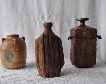 Two Wood Grain Vases/Vintage Solid Wood Vases
