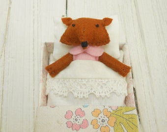 Woodland felt animal kids felt fox woodland plush stuffed red fox animal plushie gift for children fox softie doll pink birthday