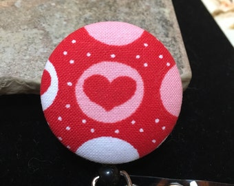 Name badge fabric covered badge reels polka dot design