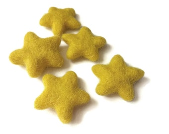 Felt Yellow Stars - Pure Wool felt stars 35-45mm felt stars