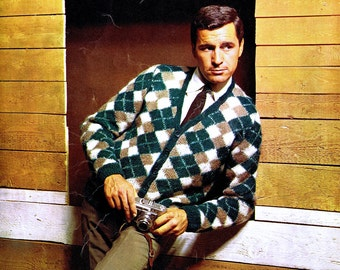 Mens Argyle Cardigan Sweater PDF Knitting Pattern Vintage 60s Reproduction Chest Sizes 40-46 inches Digital Instant Download