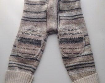 Diaper Cover Wool Leggings Longies - Grey  and cream Striped Recycled Lambswool Longies