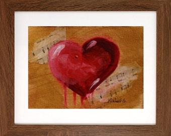 Girlfriend Birthday Gift, Original Painting, OOAK, Heart Art, Under 20, Love Song, Music Sheet Art, Red, Gold, Small Art, Bleeding Love