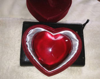 Vintage Ruby Red Glass Heart Paperweight In red Velvet Box