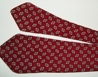 "48"" by 3.5"" 30s Cohama Cravats Phoenix Tie Burgundy Blue and Off White Foulard Birdseye Geometric Pattern Silk Excellent Condition"