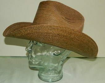"Size 7 40s 50s Calgary Straw Cowboy Tall Crown Rockabilly Old West Conforma Brim ""Shape to Suit Yourself"" Deadstock New Old Stock Vequero"