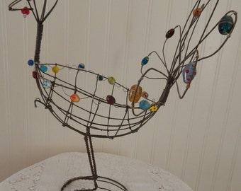 Vintage Thanksgiving Turkey Wire Basket