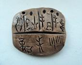Artisan made ceramic pendant - Egyptian Amulet - OOAK
