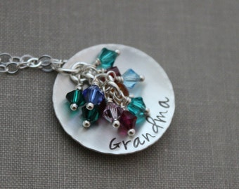 Personalized round disc Necklace, Sterling Silver Cupped with Swarovski Crystal Birthstone Charms, Grandma, Nana, Momma, Personalized mom