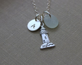 Sterling Silver Lighthouse necklace, genuine Sea glass and mini Initial Charm - Personalized beach jewelry, Beacon of Hope, Nautical Jewelry