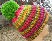 Colorful Stripes Chartreuse Pom-Pom Beanie Ski Toboggan - OOAK MWL by an EtsyMom