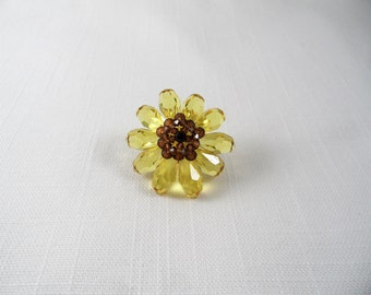 Sparkling Yellow Brown Crystal Flower Pin Brooch