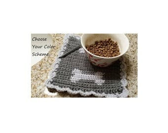 Small Square Dog Bowl Mat, Made to Order, Custom