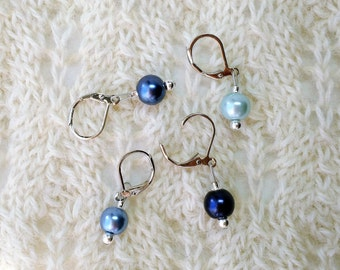 Pearl Crochet Knitting Stitch Markers - Gradient Blue Pearls -  removable markers - 8mm glass pearl beads - set of 4 8 or 12