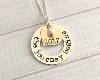 Graduation Jewelry - The Journey Begins Necklace - 2017 Graduation Necklace - Graduation Gift