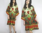 the setting sun -- vintage vibrant pointalist print aline dress with bell sleeves S/M