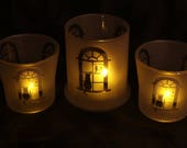 Kitty in a window Votive or tealight Candle Holders set of 3