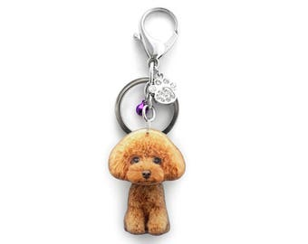 Cute Light Brown Toy Poodle Puppy Dog Shaking Head Keychain / Bag Charm SB050-BK50 / Poodle keychain / Pet loss / Dog ID tag / Pet memorial