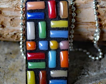 Mosaic Rectangle Pendant, Geometric Mosaic Pendant, Ceramic Mosaic Pendant, Mosaic Jewelry