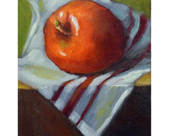 Kitchen Wall Art,Red AppleSmall Still Life Painting, Original Oil Painting On Stretched Canvas by Cheri Wollenberg