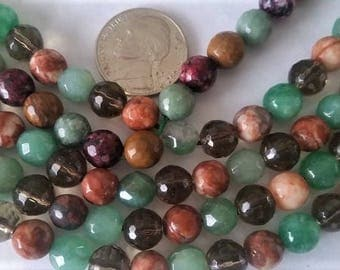 Green and brown agate, jasper, quartz 6-7mm