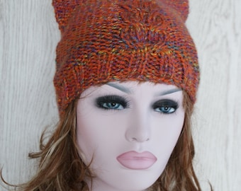 Womens Knitted Cat Hat Chunky Knit Beanie