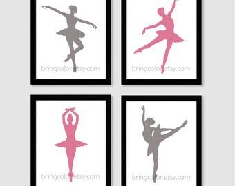 Set of 4 Ballerina Silhouette Dancers for girls room or nursery