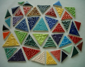 43TT - 43 pc COLORFUL Stamped TRIANGLES - Ceramic Mosaic Tiles Set