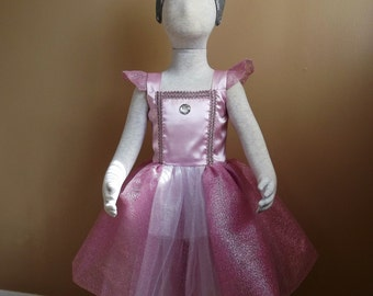 Pink Princess dress, size 3/4, with crown