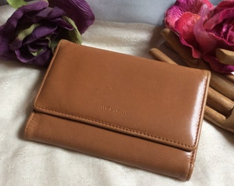 Vintage warm tan leather small Bosca wallet, woman's camel color leather Bosca small wallet, Napo Vitello Bosca leather wallet card case