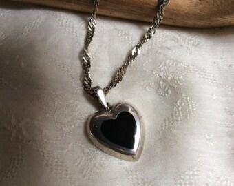 Vintage sterling silver black onyx heart charm pendant, Valentine's Day sterling heart necklace pendant, heart bracelet charm