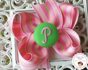 New Item---Boutique Monogrammed Baby Toddler Girl Hair Bow Clip---STRIPES---Pink & Lime---Letter P--Ready to Ship