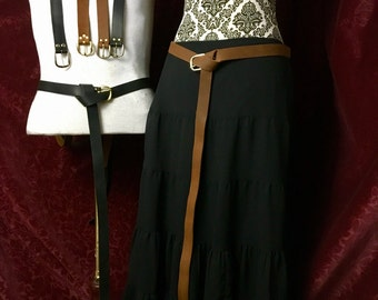 "Long Leather belt 1"" wide Medieval 60"", 72"" or 80"" for costume Re-enactor, Ren faire. Brown/Black leather SCA Garb, LARP, festival, costume"