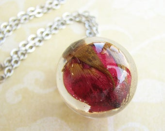 Resin Jewelry Pendant Necklace Real Flower Jewelry Real Flower Necklace Rose Necklace Globe Necklace Gift For Her
