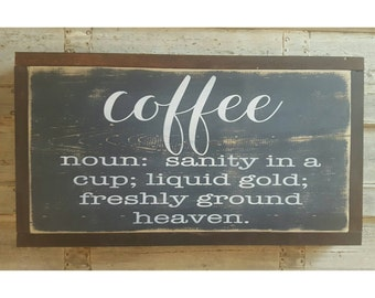 Coffee Definition Sign, Kitchen Decor, Housewarming Gift, Coffee Bar Decor, Funny Sign, Mother's Day Gift Coffee Lover Gift Handpainted Sign
