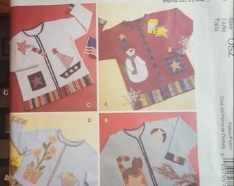 Craft Seasonal and Holiday Appliques Repurpose Sweatshirt into Cardigan Mccalls 4735