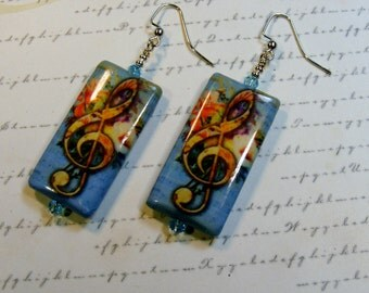 G-clef or Treble clef Earrings-blue with roses, decoupage beads, 2 3/4 inches or 7 cm
