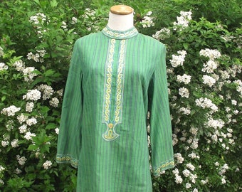 60s Boho Blouse / Vintage Indian Blouse / Lord n Taylor Sz M