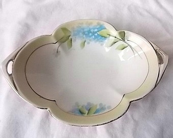 Vintage Noritake Porcelain Pin Tray Dish Hand Painted Forget Me Nots Flowers