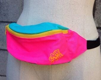 Fanny Pack Vintage 1980s Nylon Vegan Neon Waistpack Hip Pink Blue Yellow Bum Bag
