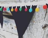 LAST CHANCE SALE! Chalkboard banner - Happy Birthday Banner-Chalkboard banner-Happy Birthday garland-Pom pom banner - Chalkboard banner