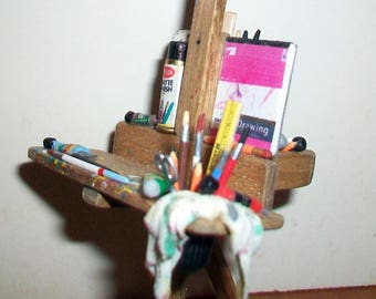 Mini Artist Easel with Paint Box  1:12 scale