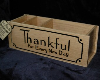 Desk Organizer for Tabletop or Countertop - Hand Made - Hand Painted Designs on Both Sides - Holds Pencils, Notes, Mail, Etc