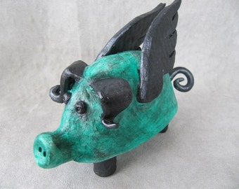 Hand built whimsical folk art pottery pig with wings