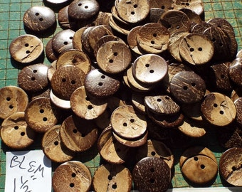 """50 large coconut shell buttons, 1 1/2"""" buttons, blems, seconds, buttons with Lots of Character, sewing, crafting, knitting, scrapbook"""