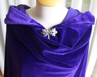 Purple velvet cloak - full oval - YOUR LENGTH