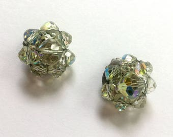 Vintage Earrings with  Aurorea Borealis Glass Beads - Clip Ons
