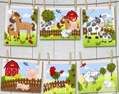 Springtime Sale Set of 6 Farm Animal Baby Nursery Childrens Bedroom Wall 8x10 ART PRINTS