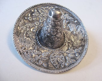 Ornate Mexican Sterling Silver Sombrero Hat Pendant Brooch Pin Signed Vintage