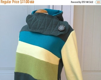 SALE BUTTER PINE - Hoodie Sweatshirt Sweater - Recycled Upcycled - One of a Kind Women - Large